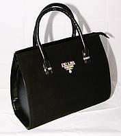 Чёрная каркасная сумка Prada (Прада), замш+кожзам
