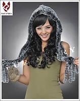 Женская меховая шапка шарф. Натуральный мех., фото 1