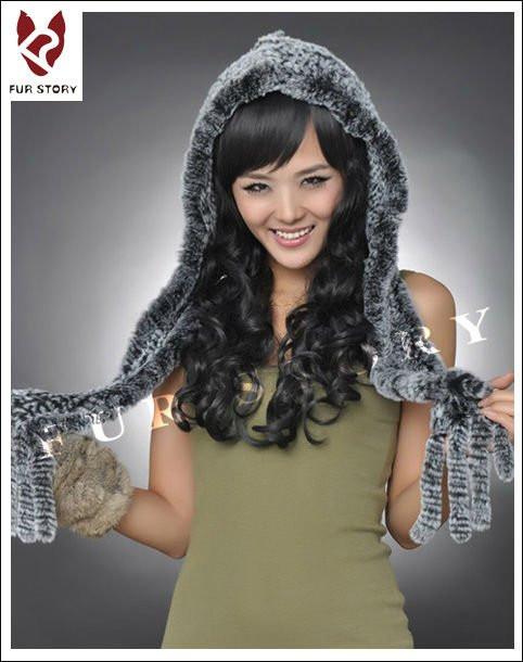 Женская меховая шапка шарф. Натуральный мех.