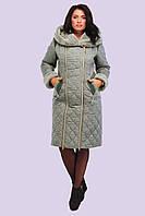 Женский зимний стеганный пуховик большого размера 50-62