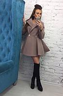 Женское пальто солнце бежевого цвета из кашемира, фото 1