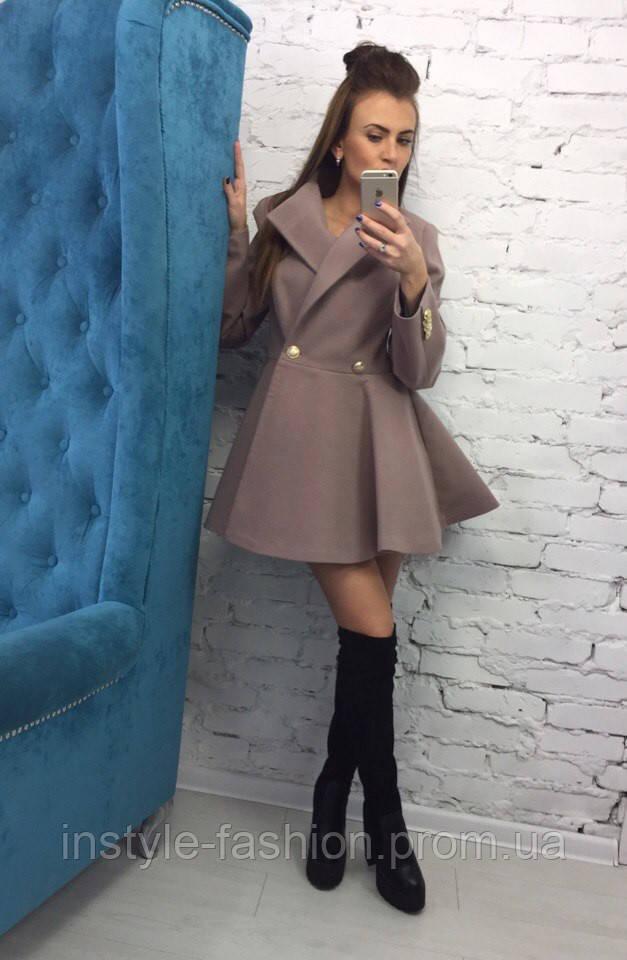 Женское пальто солнце бежевого цвета из кашемира