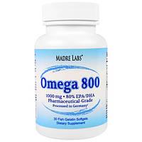 Купить Madre Labs Omega 800 Fish Oil 1000 mg, 30 softgels