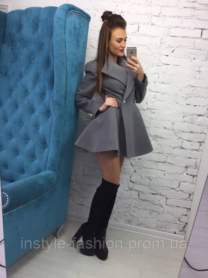 Женское пальто солнце серого цвета из кашемира