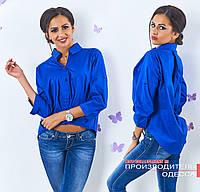 Синяя коттоновая блузка асимметрия Лидия