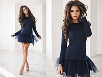 № 2006РТК Короткое трикотажное платье с оделкой из фатина в трёх цветах