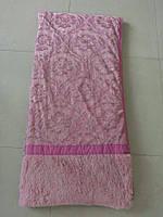 Покрывало искусственный мех (травка) с узором розовое