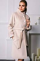 Кашемировое пальто на пуговицах с широким воротником-стойка