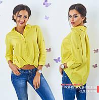 Жёлтая коттоновая блузка асимметрия Лидия