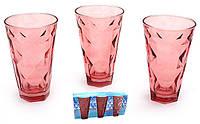 Разноцветные стаканы,красные, ромбы, набор 6 шт