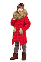 Куртка зимняя пуховик Китти на девочку р-р 34 цвет красный Распродажа