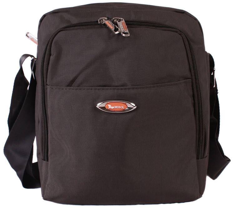 Мужская тканевая сумка через плечо коричневая