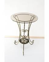 Стол кованый с круглой стеклянной столешницей С04б