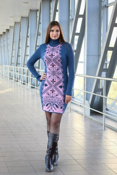 Платье вязаное женское с орнаментом Ольга синее
