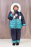 Детский зимний комбинезон на овчине для девочки.