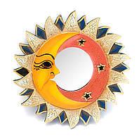Зеркало настенное деревянное Солнце и луна