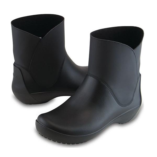 Сапоги резиновые женские короткие мягкие Crocs Women's RainFloe Bootie / дождевики полусапоги