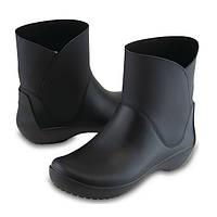 Сапоги резиновые женские короткие мягкие Crocs Women's RainFloe Bootie / дождевики полусапоги, фото 1