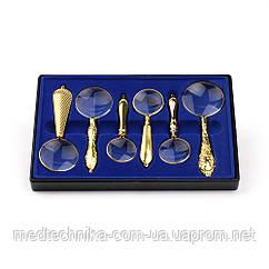 Подарочный набор ручных луп Magnifier 18154 с золотым напылением в пластиковом кейсе