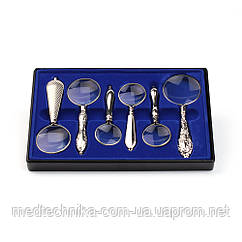 Подарочный набор ручных луп Magnifier 18155 с серебряным напылением в пластиковом кейсе