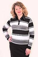 Блуза-батник трикотажный с рубашечным воротником