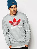 Свитшот серый Adidas Original ( цветной принт )