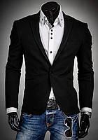 Черный мужской пиджак приталенный, фото 1
