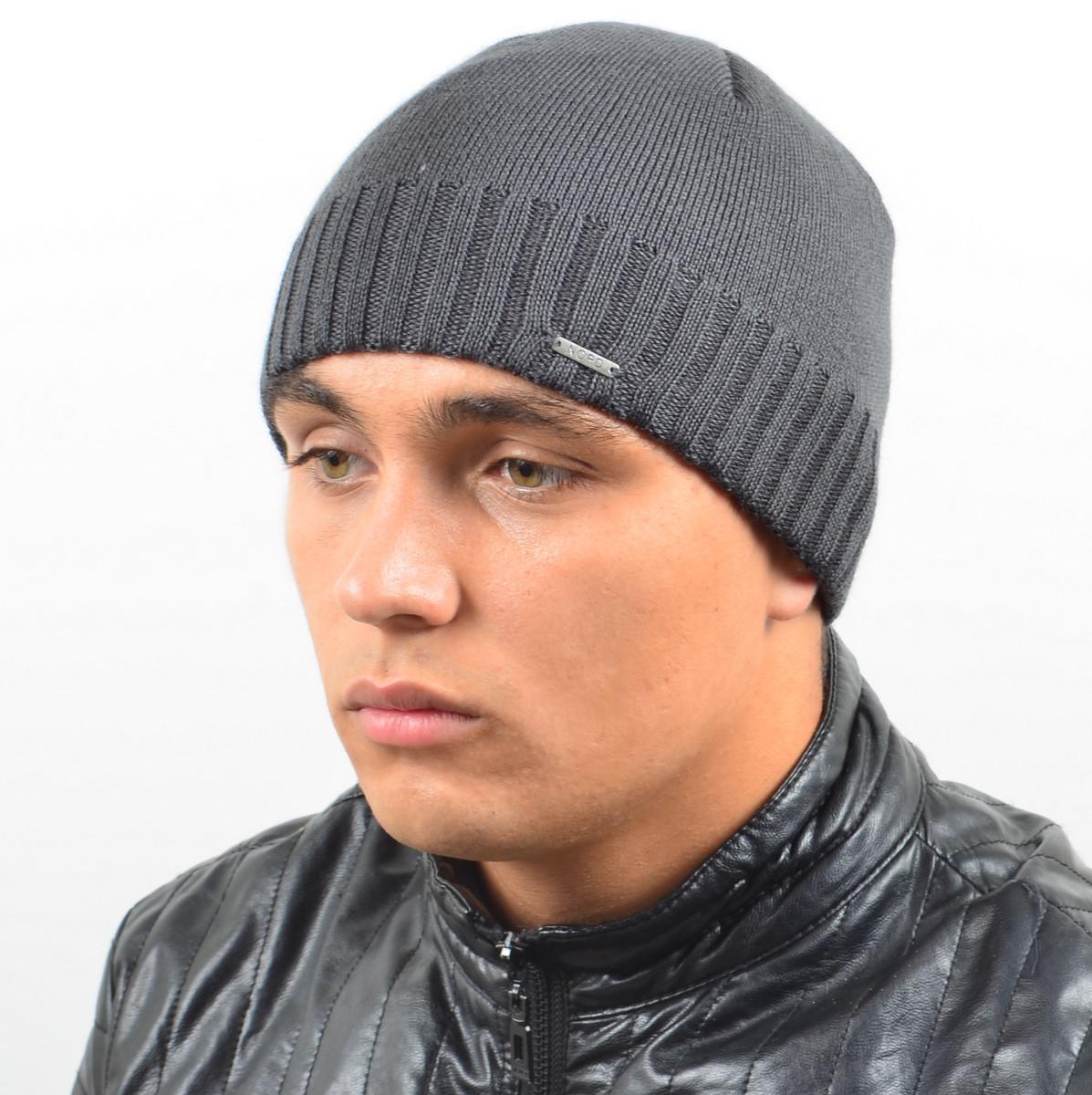 Мужская вязанная шапка NORD серый