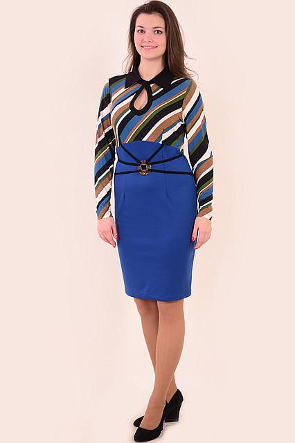 Сукня жіноча двоколірна ,сукня трикотажне , сукня з довгим рукавом ( Пл 797587), по коліно .