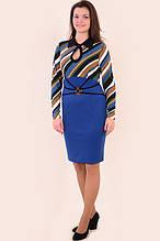 Платье женское двухцветное ,платье трикотажное , платье с длинным рукавом ( Пл 797587), по колено .