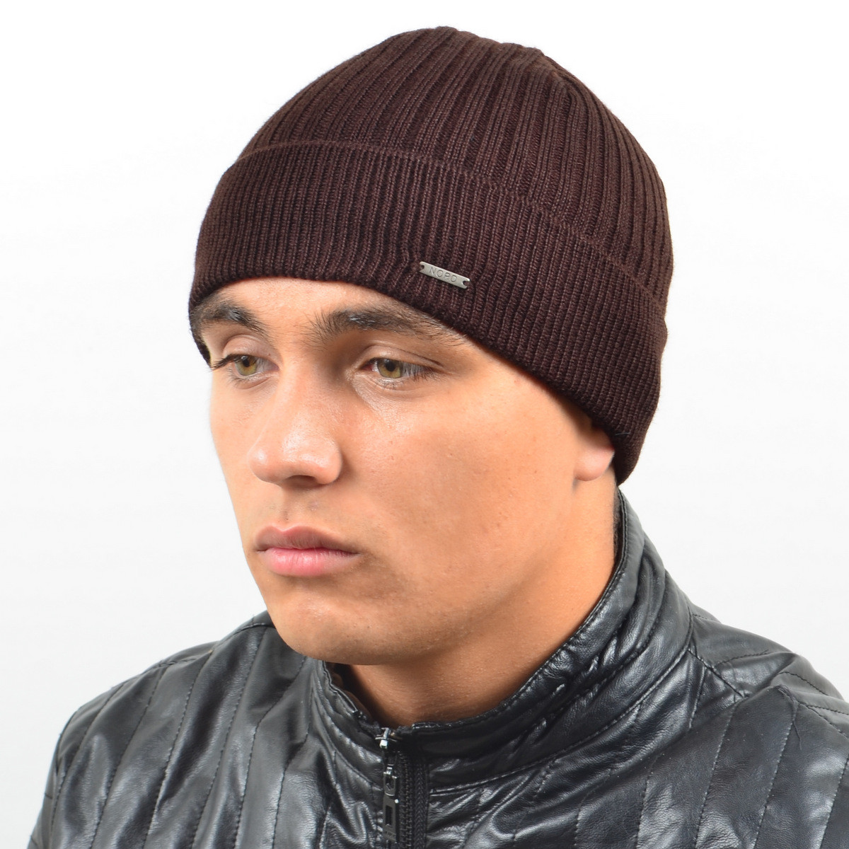 Мужская вязанная шапка NORD с отворотом коричневый