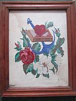 Вышивка картина крестом 41:50 см. в раме 50-е годы