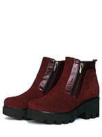 Бордовые ботинки на тракторной подошве
