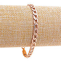 Браслет Xuping крупное плетение плоской формы,замок карабин,цвет золото