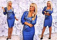 """Элегантное женское платье в больших размерах 1020 """"Трикотаж Углы Горошек"""" в расцветках"""