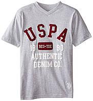 Футболка U.S. Polo Assn.с V-вырезом серая