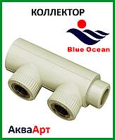 Коллектор наборной из PPR 40х1/2вх2 с латунной вставкой BLUE OCEAN