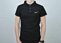 Футболка мужская  поло Nike хлопок черная, вышит лого