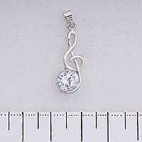 Фурнитура подвеска Скрипичный ключ со стразом, цвет серебро