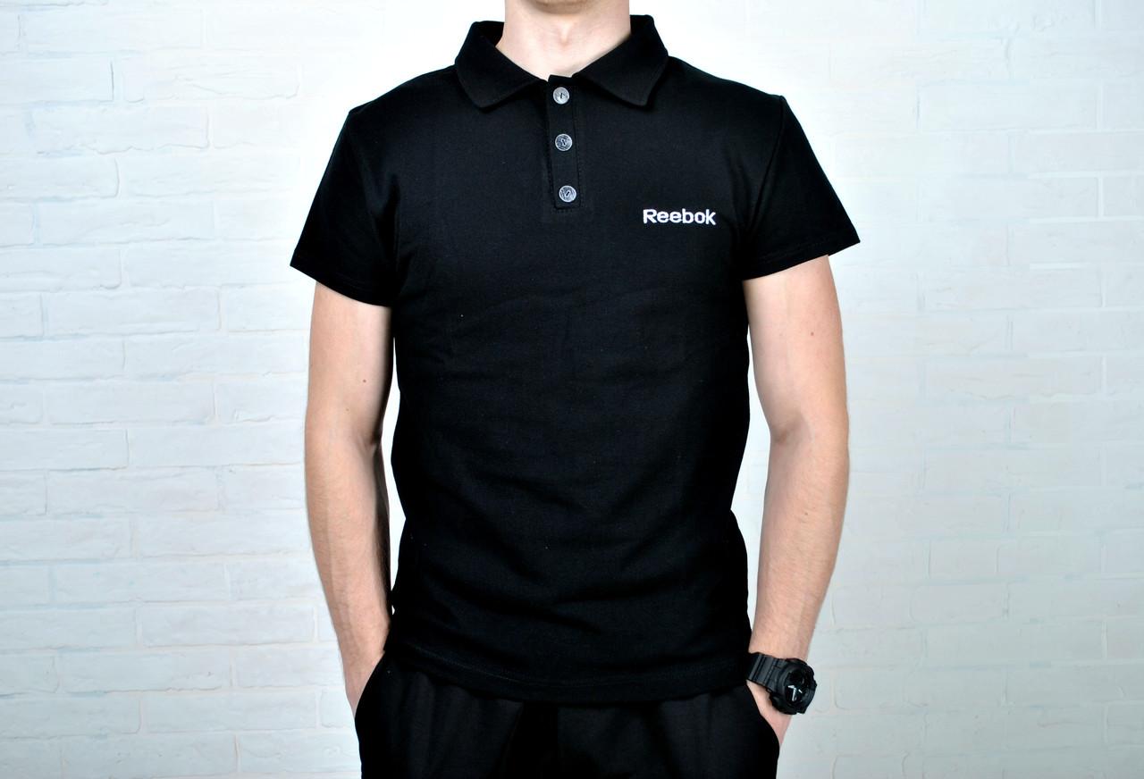 c92915d2c3a85 Размер S !!!! Футболка мужская поло В стиле Reebok хлопок черная c вышитым  лого, цена 300 грн., купить в Киеве — Prom.ua (ID#386153784)