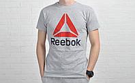 Футболка мужская  Reebok хлопок серая / рибок