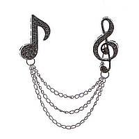 Брошь  двойная Нота и скрипичный ключ на цепочках со стразами,цвет серебро,60мм