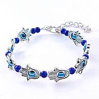 Браслет Хамса с синими бусинами, цвет металла серебро