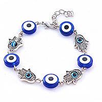Браслет Хамса с синим глазком, цвет металла серебро