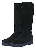 Замшевые черные сапоги, фото 1