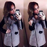 Комбинированное пальто на молнии