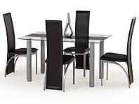 Кухонный стол Halmar Talon со стеклянной столешницей с черной полоской