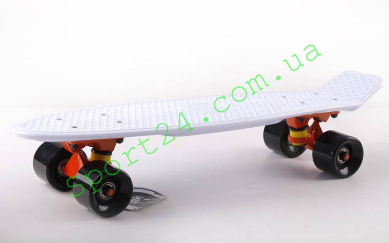 Белый пенни борд 22 Фиш черный колеса (penny board fish)