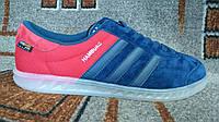 Кроссовки Adidas Hamburg (Адидас  Гамбург) синий с красным оригинал замша и ткань