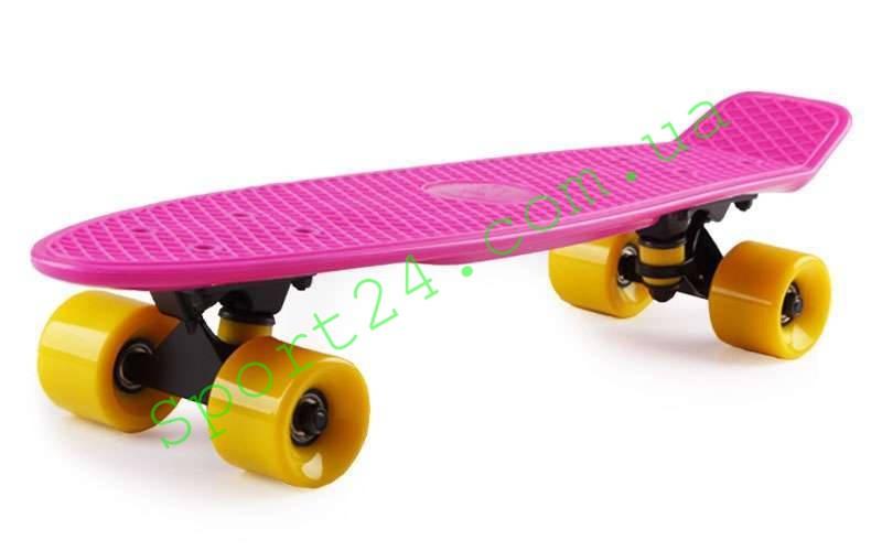 Розовый пенни борд 22 Фиш желтые колеса (penny board fish)